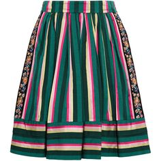 Etro Striped embroidered poplin skirt (£645) ❤ liked on Polyvore featuring skirts, bottoms, structured skirt, striped pleated skirt, blue stripe skirt, embroidered skirt and colorful skirts