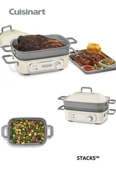 With the ability to cook 6 different ways, our STACK5™ is the ultimate counter-top unit to replace the need for multiple appliances. The grill plate sears meats and vegetables or, when swapped for a stainless steel rack, easily steams foods. A 5-quart deep, #nonstickpan can be used for slow cooking, baking, griddling, and browning or sautéing! It truly does it all. #summergrilling #kitchenmusthave #cookingwishlist #savorthegoodlife #cuisinart #slowcooker