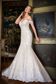 T222058 Lovely Embroidered Lace Mermaid Gown with Flattering Hand Beaded Portrait Neckline and Cathedral Train Lace Mermaid, Mermaid Gown, Bridal Gowns, Wedding Gowns, Different Types Of Dresses, Jasmine Bridal, Fit And Flare Wedding Dress, Tulle Ball Gown, Embroidered Lace