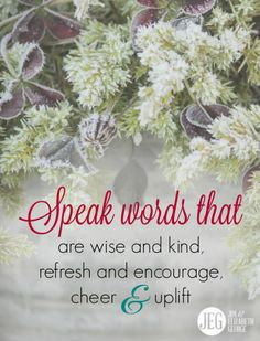 """Commit to speaking life-giving words when you open your mouth. Speak words that are wise and kind. Speak words that refresh and encourage. Speak words that cheer and uplift. You can be a fountain of life instead of the person whose words """"pierce like swords"""" Let yours be """"the tongue of the wise [that] brings healing"""" (Proverbs 12:18)."""