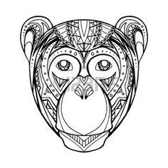 tribal monkey: Illustration Doodle monkey and boho pattern for your creativity