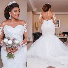 This Bridal Dress, Makeup, Hair and entire look, is Goals. It has a sheer infusion the exact tone of the Bride's skin, with thousands of crystal embellishments. Latest Wedding Gowns, Fancy Wedding Dresses, Bridal Skirts, Plus Size Wedding Gowns, African Wedding Dress, Wedding Dress Trends, Elegant Wedding Dress, Wedding Attire, Bridal Gowns