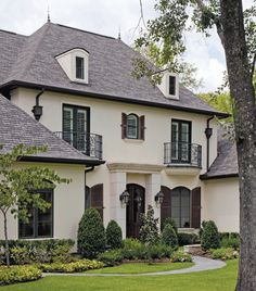 Since our windows are brown, maybe we could paint the wood siding this cream color to lighten it up a bit. I wonder if a brown roof would be too much?