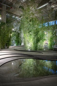 ♂ Urban sustainable living Indoor Naturescape Stonescape with green bamboo by Kengo Kuma