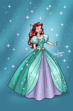 """coryjensenart: """" Re-designed Disney Princess Gowns. Snow White, Cinderella, Aurora, and Ariel."""