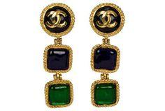 Chanel  Blue & Green Gripoix Earrings