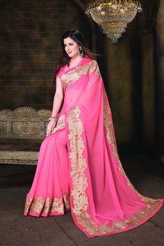 Buy Pink Chiffon Designer Saree Online in low price at Variation. Huge collection of Designer Sarees for Wedding. #designer #designersarees #sarees #onlineshopping #latest #lowprice #variation. To see more - https://www.variationfashion.com/collections/designer-sarees
