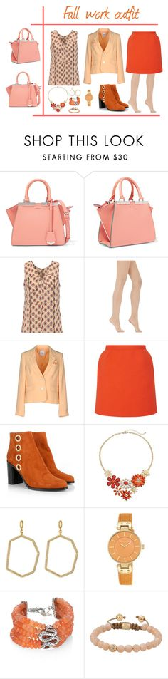"""""""Fall work wear #2-peach and orange. Brights!!"""" by tori-holbrook-th ❤ liked on Polyvore featuring Fendi, Marni, Wolford, Moschino Cheap & Chic, Delpozo, Chloé, Vince Camuto, Anne Klein, John Hardy and Shamballa Jewels"""