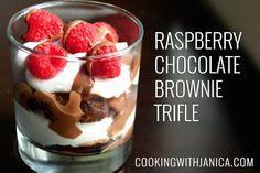 Raspberry Chocolate Brownie Trifle - made with dark chocolate Ghirardell