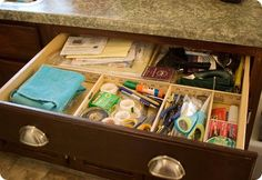 yardstick junk drawer organizer idea