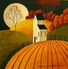Folk Art landscape (Naive, Primitive) Autumn Full Moon Harvest farm country land: inspiration for PTI's Autumn Hills set (August Arte Popular, Foto Art, Autumn Art, Naive Art, Tole Painting, Autumn Painting, Painting Tips, Watercolor Painting, Landscape Paintings