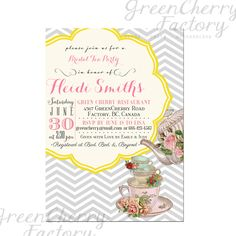 Bridal Shower Tea Party Invitation - Baby Shower Tea Party Invitation - Birthday Invitation - Light Gray and Yellow Printable - No.125. $18.00, via Etsy.