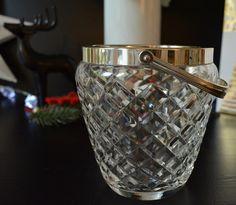 Vintage Eiswürfelbehälter Glas versilberter Griff Eiszange Glasdesign Qualitätsware Neujahrsfeier Edel Weihnachtsfeier von VintageLoppisStyle auf Etsy
