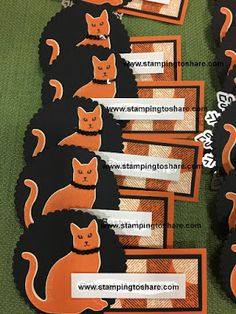 #stampingtoshare Fall Flair Nametags created by Kim Lundstrom with Spooky Night Designer Series Paper.