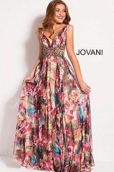 c1cd8f4a3a9 Multi Color Chiffon Embellished Belt V Neck Prom Dress 53091  RuchedDress   PromDress  Jovani
