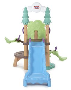 Features:  -Leaf' climbing wall with handles.  -Climbing platforms molded to look like wood.  -Crawl-through tunnel log.  -'Peek-a-boo' knot hole in tree.  -See Saw.  -Slide is molded to look like a w