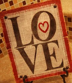 Burlap and Wood Love Sign