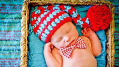 Newborn Photo Prop Baby Red and Turquoise Hat. $23.00, via Etsy.