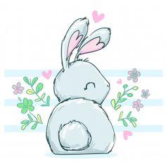 Kitten Drawing, Bunny Drawing, Bunny Art, Cute Animal Drawings, Kawaii Drawings, Easy Drawings, Griffonnages Kawaii, Easy Art For Kids, Bunny Tattoos