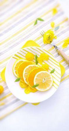 レモンと花
