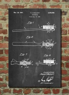 Toothbrush Patent Art, Dental Art, Dental Office Decor, Dentist Office, Bathroom Poster by PatentPrints on Etsy https://www.etsy.com/listing/244024596/toothbrush-patent-art-dental-art-dental