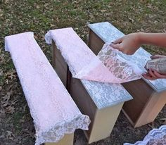 Transform furniture with lace and spray paint. http://hative.com/creative-diy-painted-furniture-ideas/