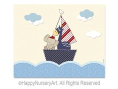 Row your boat nursery art print kids room decor by HappyNurseryArt