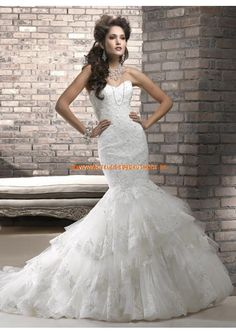 2013 Türkische sexy Brautkleider aus Tüll und Satin Meerjungfrau