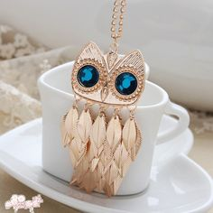 New Gold Leaves Blue Eye Owl Length Necklace Sweater Chain   eBay
