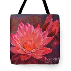 """Water Lilies 7 Tote Bag 18"""" x 18"""" and other sizes from a painting by Fiona Craig www.fionacraig.com (the FAA watermark is not on the actual product)."""