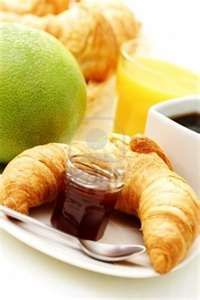 butter croissant and coffee for breakfast - food and drink Stock Photo ...