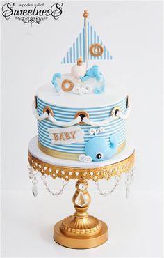 Adorable tarta para fiesta de Baby shower. Pinealo para más tarde #babyshower #tarta #pastel