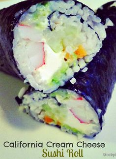 How to make a California Cream Cheese Sushi Roll.  I had sushi for the first time yesterday! Pretty good.