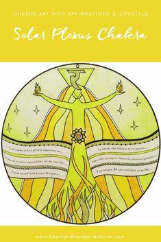 SOLAR PLEXUS CHAKRA art print with affirmations & crystals - solar plexus chakra || chakra healing || yoga art | inspirational art | affirmation wall art. Purchase print in my Etsy shop:  HeartAndHandsAU