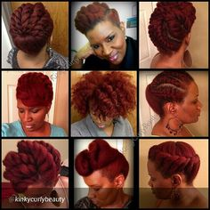 This red-headed natural is FIRE! #naturalhair #blowout #twistout #updo #pinup #redhead #protectivehairstyles