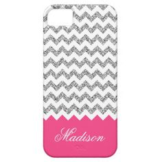 Bright Pink Silvery Glitter Chevron Pattern iPhone 5 Cover Case.  A chic, modern, girly trendy faux silver gray glitter graphic with white background chevron zigzag pattern and a bottom border in bright pink featuring a customizable name template in an elegant cursive font.