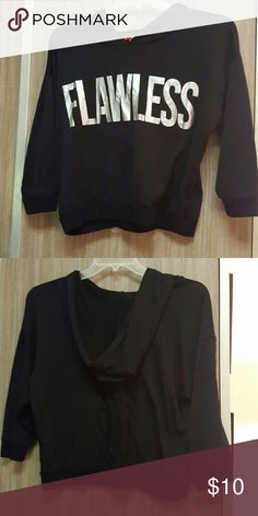 sweater black pullover brand Bongo size large lace back  has a hood  3/4 length sleeves worn only a few times BONGO Sweaters Cardigans