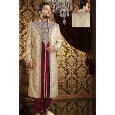 Presenting Cream Brocade #Sherwani with Embroidered Order Now@ http://zohraa.com/men/sherwani/officewear-casual-brown-faux-georgette-and-viscose-premium-kurti-fab-qekrk24tpdtl.html Rs. 23204.