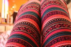 colorful leggings.... all my leggings are brown, black and grey