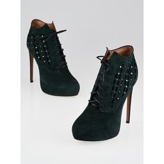 Pre-owned Alaïa Green/Black Suede Studded Lace Up Booties ($345) ❤ liked on Polyvore featuring shoes, boots, ankle booties, black booties, black lace up booties, black suede bootie, black lace up boots and suede ankle boots