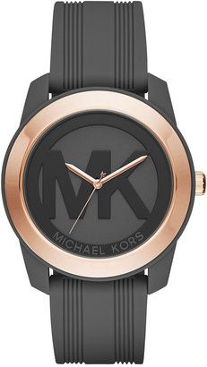 Michael Kors Women's Preston Charcoal Silicone Strap Watch 43mm MK2560 - A Macy's Exclusive #watches #womens