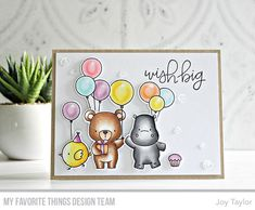 Beary Special Birthday stamp set and Die-namics, Birthday Chicks stamp set and Die-namics, Happy Hippos stamp set and Die-namics, Handwritten Happiness — Joy Taylor #mftstamps