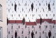 Rene Magritte - Raining men. In the aftermath of the bombing. Crushed by both the weather and the crowd.