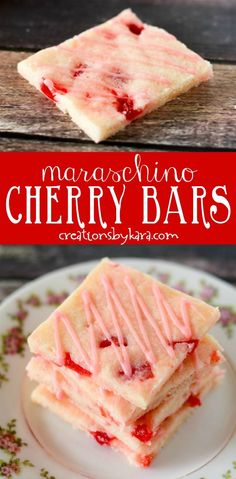 Chewy, buttery, and loaded with juicy cherries, these maraschino cherry bars are always well received. A tasty cherry bar recipe. Cherry Desserts, Cherry Recipes, Köstliche Desserts, Delicious Desserts, Dessert Recipes, Recipes With Cherries, Cherry Yum Yum Recipe, Candy Recipes, Sweet Recipes