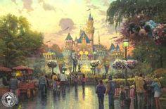 Thomas Kinkade Disneyland Anniversary painting for sale, this painting is available as handmade reproduction. Shop for Thomas Kinkade Disneyland Anniversary painting and frame at a discount of off. Thomas Kinkade Disney, Thomas Kinkade Art, Art Disney, Film Disney, Disney Kunst, Disney Pixar, Disney Canvas, Disney Magic, Disney Movies