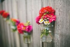 Garden & Patio, Nice Cool Wonderful Fence Wooden Made Concept With Pink And Red Flowers On Plastic Jar Cool Outdoor Fence Decorations Design Ideas Bamboo Fence Decor Outdoor Decorations ~ Adorable Various Design of Outdoor Fence Decoration