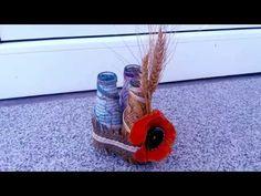 Reciclaje, sticle cu spice si floare de mac--Reciclaje, spice bottles an...