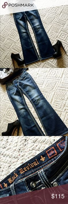 Rock Revival boot cut jeans NWOT sequin pockets Rock Revival boot cut jeans - New with out tags, bought removed tags have NOT washed yet - rhinestone button details, dark faded wash - sequin back pockets - inseam - 31 inches -///// rise - 7.5 inches Rock Revival Jeans Boot Cut