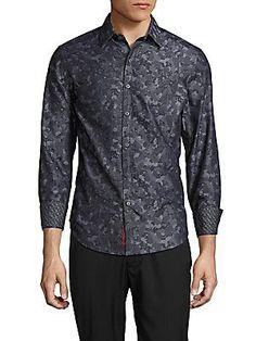 Robert Graham Claude Printed Cotton Shirt - Charcoal - Size