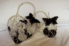 Love these Bridesmaid Silver Hearts Bags to hold petals - two preloved ones available for £15